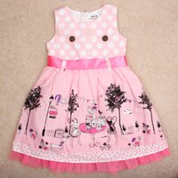 Wholesale Summer girls dress lace printed sleeveless dresses wave point with a waist dress trimmed bow cotton dress