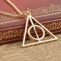 Wholesale 2016 New Hot Fashion triangle Deathly Hallows triangle metal pendant long chain necklace ace gifts