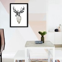 Wholesale osters and prints Cotill Geometric Deer Head Canvas Painting Pictures Wall Art Pictures On The Wall NO Frame Home Decor Picture Canvas Po
