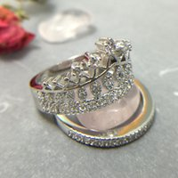 wedding rings white gold cubic zirconia crown shape white gold plated jewelry ring antique cz crystal - Antique Wedding Rings For Sale