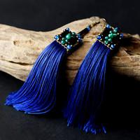 Wholesale ethnic earrings for women long blue tassel drop green agate beads bronze hook style vintage fashion jewelry new arrival