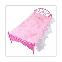 best furniture toys - Hot Mini Dolls Bed With Pillow Fit for Barbie Dolls Dollhouse Paly House Bedroom Furniture Best Gift Baby Girl Kids Free DHL