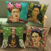 Wholesale Frida Kahlo Self Portrait Art Cushion Cover Colour Painting Flowers Green Leaves Pillow Covers Decorative Linen Pillow Case For Sofa Seat