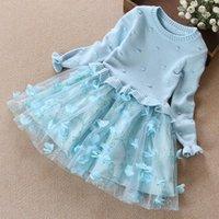 achat en gros de filles nouvelles robes-La mode libre de mode d'expédition nouvelle robe de fille d'hiver d'automne habille les vêtements chauds de bébé de robe