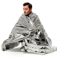 Wholesale Hiking Camping Supplies Silvery Mylar Waterproof Emergency Rescue Space Foil Thermal Blanket Outdoor Pads PET