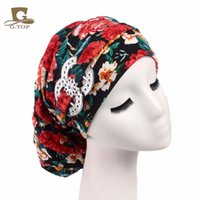 Cheap New Vintage Turban floral Dreadlocks Braids Cap bonbons doux et doux bouchon de chemole chaude Bandana Hair Loss Bonnet Tube