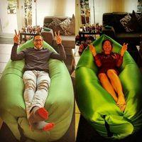 Saco de dormir inflável de ar rápido Hangout Lounger Air Camping Sofa Portable praia Nylon tecido dormir cama com bolso e âncora