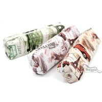 Wholesale PC Vintage Metro Eiffel Tower Cars Printed Pen Pencil Case Brush Bag Organizer Pouch Pencil Bag School and Office Stationery