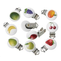 Wooden iron baby fruit holder - Random Cute Baby Pacifier Clips Nipple For Infant Round Wooden Fruit Pacifier Holder With Metal Clip