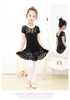 Wholesale New Girls lace short sleeve dance dress leotard with lace skirt