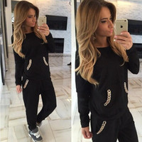 Pullover active length nails - Top Fashion Spring Autumn Pocket nail chain Women s Sportswear Hoodies Sweatshirt Pants Women s Sportsuits Jogging suit Tracksuits