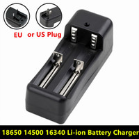 No Electric  Universal Dual Battery Charger For 18650 14500 16340 26650 Rechargeable Li-ion battery charger EU   US buy 50pcs Send DHL free shipping