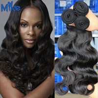 Wholesale MikeHAIR Malaysian Body Wave Hair Weaves to inch Peruvian Indian Brazilian Malaysian Wavy Hair Extensions Bundles Human Hair Weaves