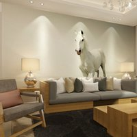 Wholesale white horse photo prints posters wall decals papel de parede d mural wallpaper for living room decorative wall paper home decor