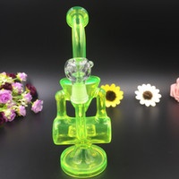 baby barrels - Double barrel recycler vapor rig glass pipe dab oil rigs percolator bubbler pipe thickness glass bong baby double recycler water pipe