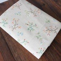 Wholesale Vintage Zakka flower fabric Hesen sub Aoki squid floral color linen for diy table cloth curtain cloth