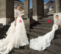 bead embellished - 2 piece wedding dresses half sleeves high neck embellished bodice lace crop top princess tiered skirt ball gown sheath v back chapel