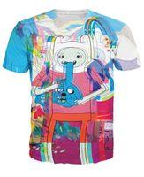 achat en gros de temps d'aventure t-shirt femmes-T-shirt de temps de voyage de la vente en gros Jake et Finn le T psychédélique d'heure d'aventure Le T-shirt unisex de femmes de style d'été d'hommes pulls avec capuche