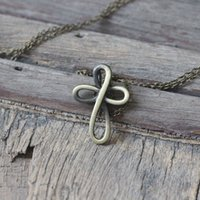 antique eternity - antique silver bronze Eternity Cross necklace Infinite Infinity necklace Cross with Infinity Symbol charm Christmas gifts
