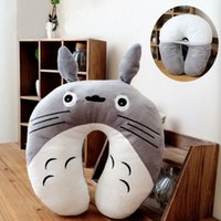 Wholesale Hot New Cute Cartoon Gray Totoro Club Animal U Shape Massage Foam Pillows Travel Sleeping Home Bolster and Pillows Cotton cm