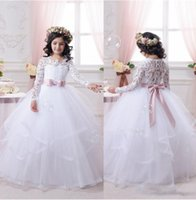 Wholesale 2017 White Flower Girl Dresses for Weddings Long Lace Sleeve Girls Pageant Dresses First Communion Dress Little Girls Ball Gowns Hot Sale