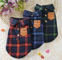 dog coats - Winter Dog Clothes Chihuahua Plaid Shirt Small Dog Coat Jacket Double layer cotton Pet Clothing Dog Shirt
