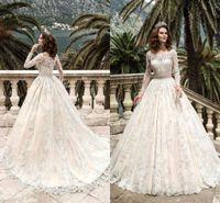 beach ribbon - 2017 Stunning Full Sleeves Lace Wedding Dresses Vestidos De Noiva Pricess Ball Gown Wedding Dress Custom Made Vintage Bridal Gowns