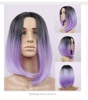 beyonce hair extensions - ombre bob wig artificial hair beyonce wig black purple no lace front wigs peruca Cosplay Synthetic Hair Wigs