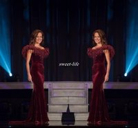 beauty drops yellows - Elegant Miss World Pageant Evening Gowns Beauty Queen Burgundy Velvet with Feather Mermaid Women Formal Wear Long Prom Dresses Beading