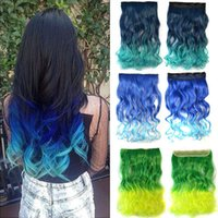 Wholesale Long Wavy Curly Clip in Hair Extensions Ombre Rainbow color Women Synthetic Clip In Hairpieces Accessories Colors Mix Color
