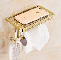 Wholesale Jieshalang Archaize paper frame Multifunctional towel rack Toilet paper toilet paper tissue box mobile rack golden