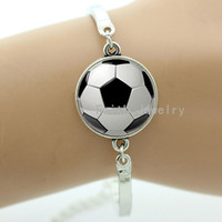 South American american sporting events - Fashion football bracelet classic black white soccer pattern handmade ball fans jewelry sports events team gifts