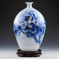 antique hand painted vases - Ancient Style Blue and White Porcelain Traditional Chinese Elegant Tabletop Vase with Hand Painted Peony Painting ZDV M004M
