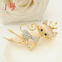 abc cats - Fashion Hot Opal Suit Brooch For Cat Shawl Buckle Rhinestone Lapel Pin Brooches for Women Wedding hijab pins D25300 ABC