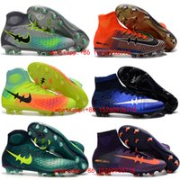 Wholesale New Boys mercurial superfly fg original soccer shoes women magista obra mens soccer cleats youth kids football boots cr7 cleats black