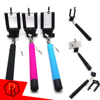 Wholesale Monopod For Iphone Samsung s5 galaxy Note Extendable Self Timer Handheld With Cable Z07 plus Cable Take Pole Monopod selfie stick