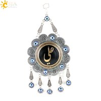 ali flowers - CSJA Vintage Silver Plated Islamic Muslim Ali Flower Pendants Pendulum Home Wall Hanging Blue Evil Eye Bead Charms Lucky Jewelry Eid E294