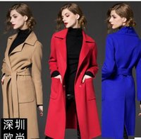 Wholesale High Quality Europe Women Fashion Long Coat Lady Trench Coats Woolen Coats Lapel Neck Outwear Girl Clothing Sexy AG05