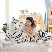 achat en gros de tigre en peluche-170cm Huge Mighty Simulated Animal Tiger Peluche Toy Jumbo 67 '' Stuffed Vivid White Tiger House Décoration