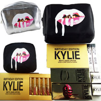 Wholesale Kylie Gift Bags Golden Box Makeup Bag Birthday Collection Cosmetics Birthday Bundle Bronze Kyliner Kyshadow Kylie Jenner Holiday Lip Kit DHL