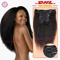 Wholesale Kinky Straight Clip In Human Hair Extensions A Brazilian Coarse Yaki Human Hair Mongolian Virgin Hair Clip In Extension