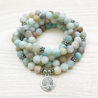 beaded tree necklace - SN1144 Matte mm Amazonite Mala Bracelet or Necklace Tree of Life Bracelet High Quality Yoga Jewelry