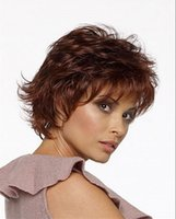 Mix Length auburn hair pictures - 100 Brand New High Quality Fashion Picture wig Ladies Puffy Natural Short Curly Hair Wig Auburn wigs