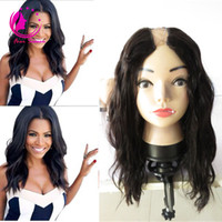 Wholesale 10 Brazilian Virgin Human Hair U Part Wigs Natural Wave Human Hair Wigs Middle Side Upart Wavy None Lace Wig for Black Women
