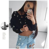Wholesale 2016112144 Hollow out hoodie sweatshirt women jumper Short lace up black knitted pullover female2016 autumn winter warm slim pull