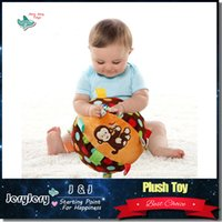 baby frog cartoon - Cartoon Baby Plush Ball Toys Colorful Soft Monkey Kitty Frog Rattle Mobile Ring Bell Toy For Newborns Rattles Educational