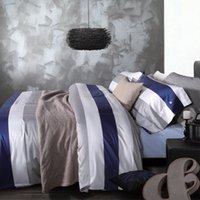 Wholesale New cotton Stripe Printing Bedding Sets Cover King Queen size European Style White blue and gray stripes Bedding Supplies