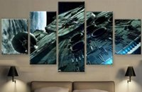 Wholesale 5 Set Framed Printed millennium falcon Star wars Return of the Jedi movie poster print stretched art home decoart painting