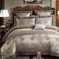 beige bedspread - New Hot Queen King size Luxury bed linen bedding set tribute silk satin Jacquard duvet cover bed sheet bedclothes bedspread