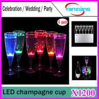 acrylic plastic cups - New Fashion ml LED Champagne Acrylic Cups Inductive Color Cup Goblet for Party Wedding Club Event set YX XB